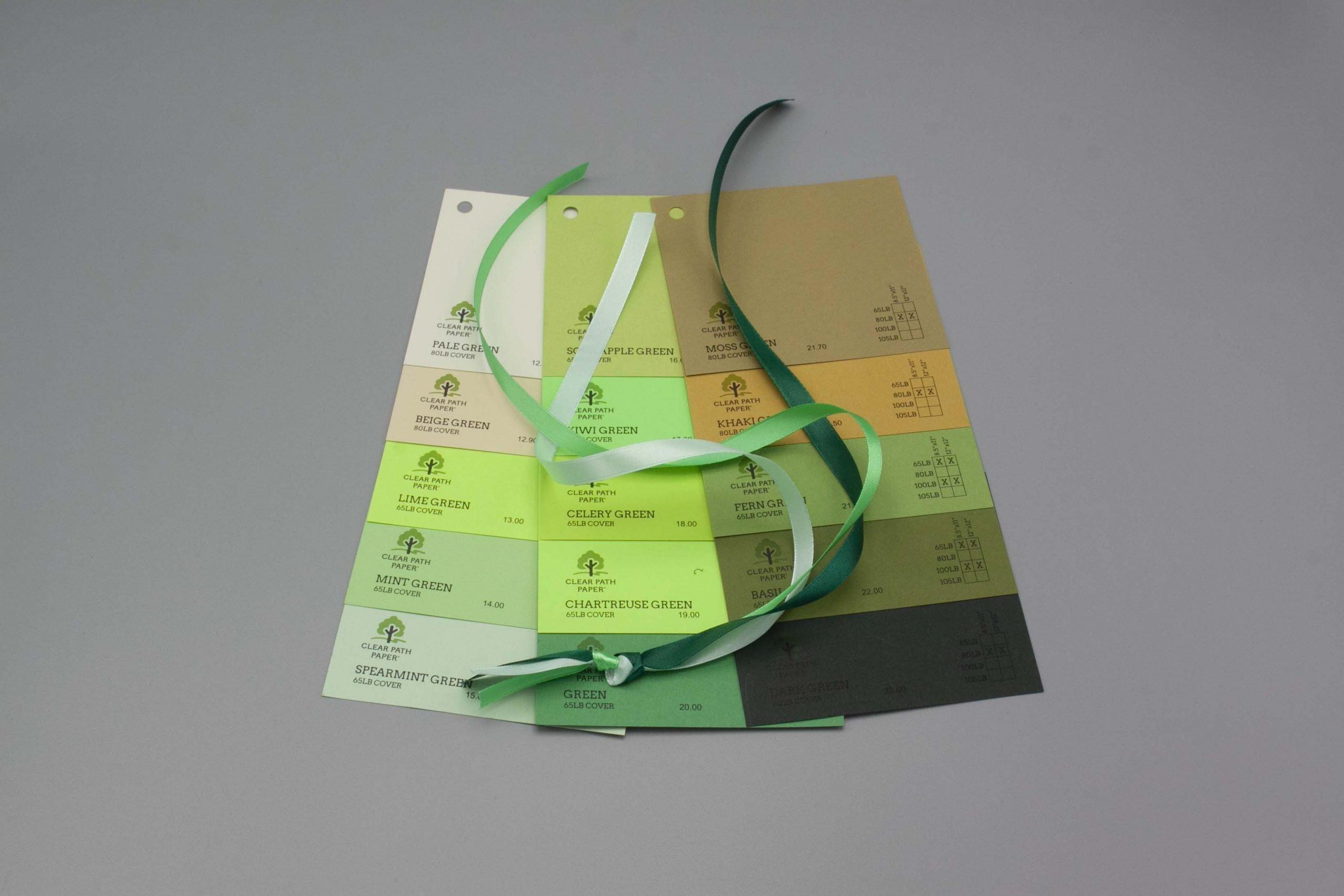 Image of Satin Ribbon on Green Cardstock