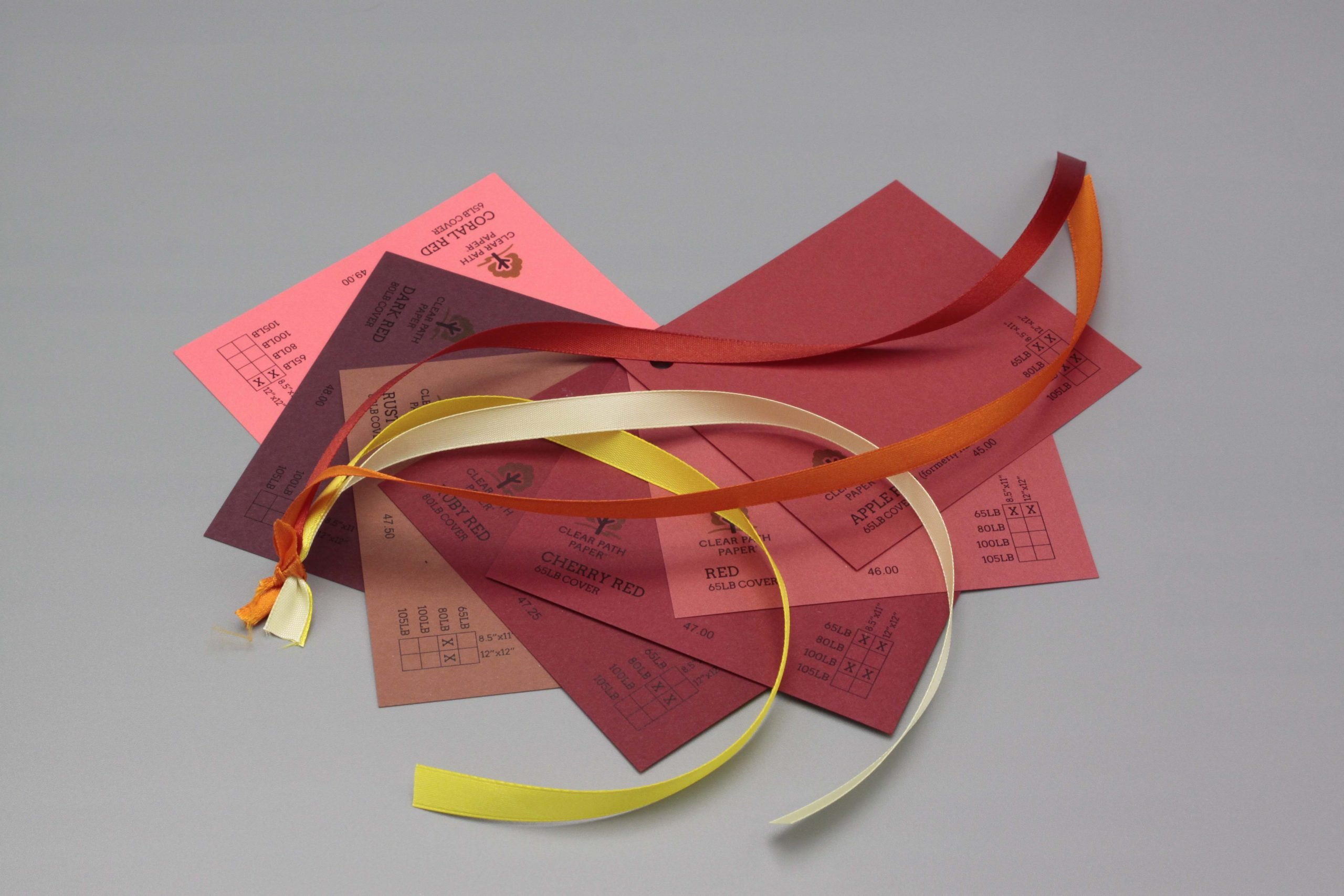 Image of Satin Ribbon on Red Cardstock