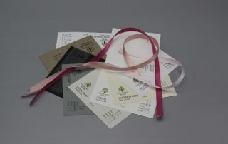 Image of Satin Ribbon on Black, Gray, and White Cardstock