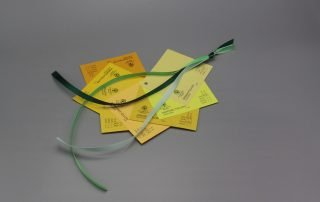 Image of Satin Ribbon on Yellow Cardstock