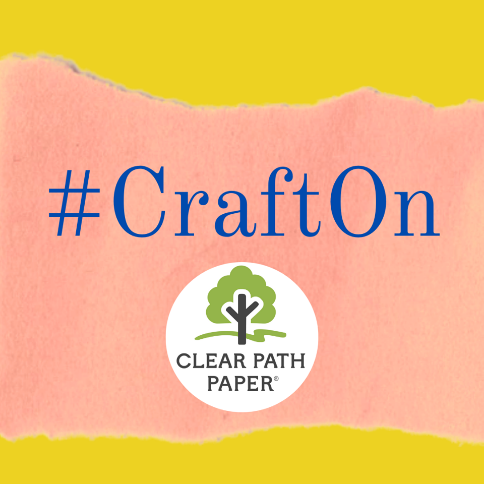 """Image of colored cardstock with the Clear Path Paper logo and the hashtag """"Craft On."""""""