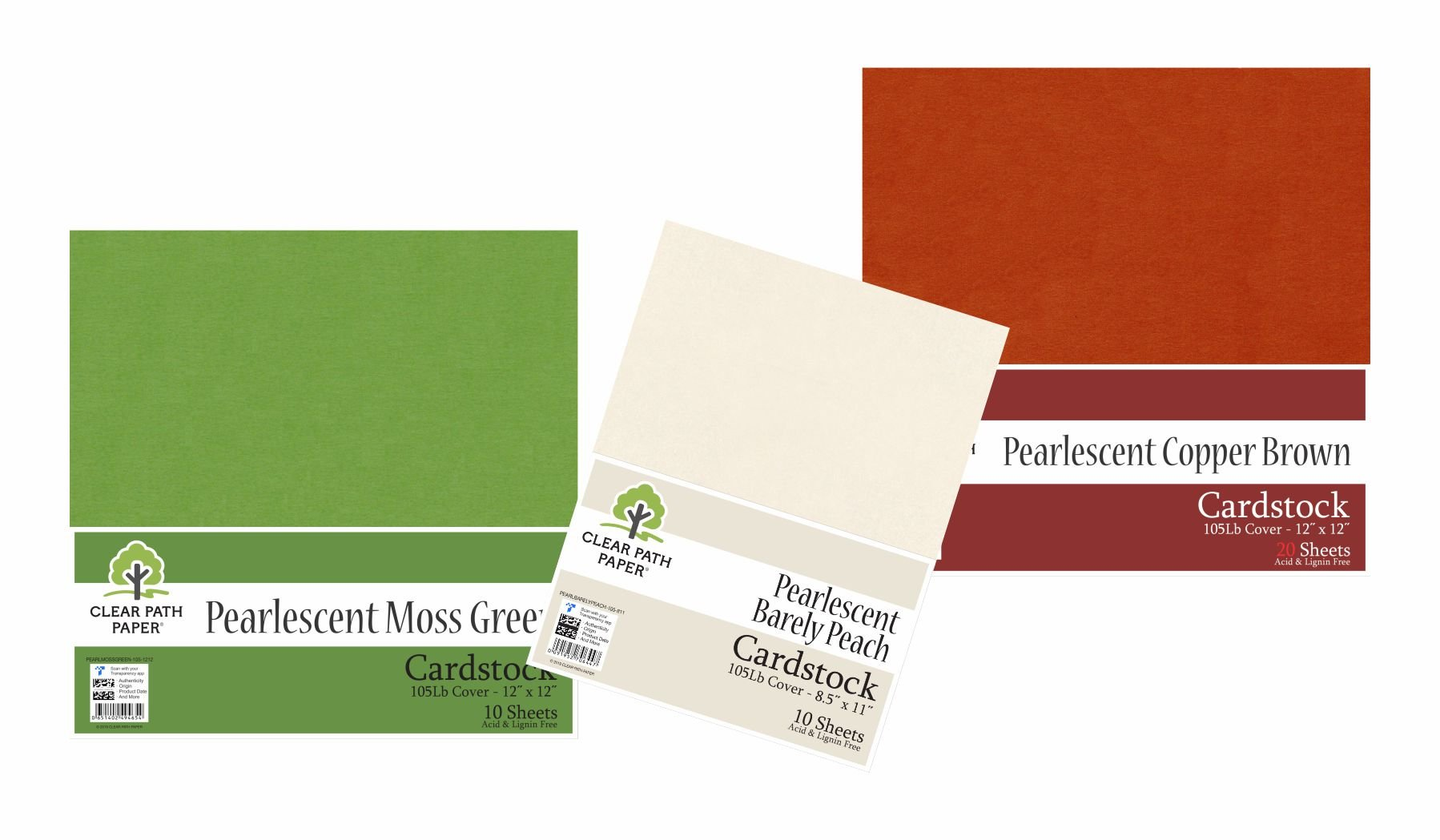 Image of an Amazon bundle of Pearlescent Copper Brown, Pearlescent Moss Green, and Pearlescent Barely Peach cardstock packs