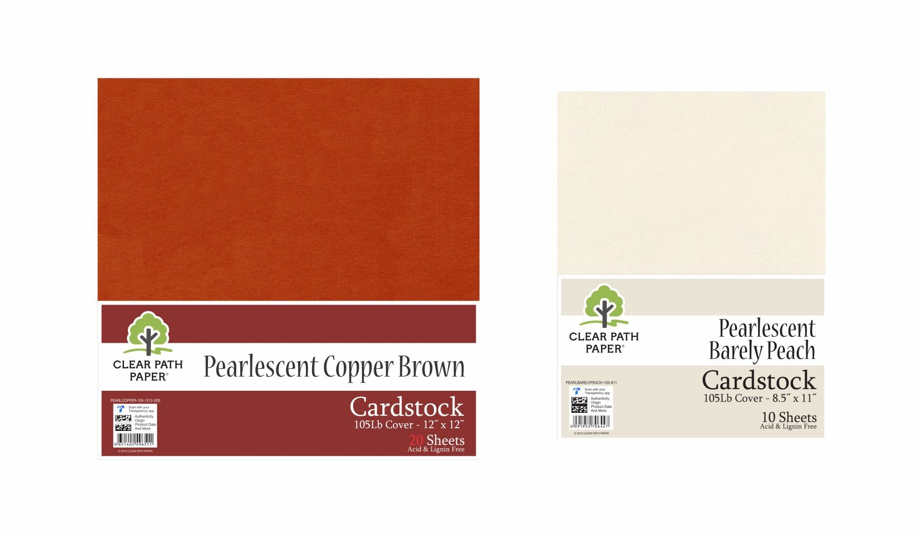 Image of an Amazon bundle of Pearlescent Copper Brown and Pearlescent Barely Peach Cardstock packs