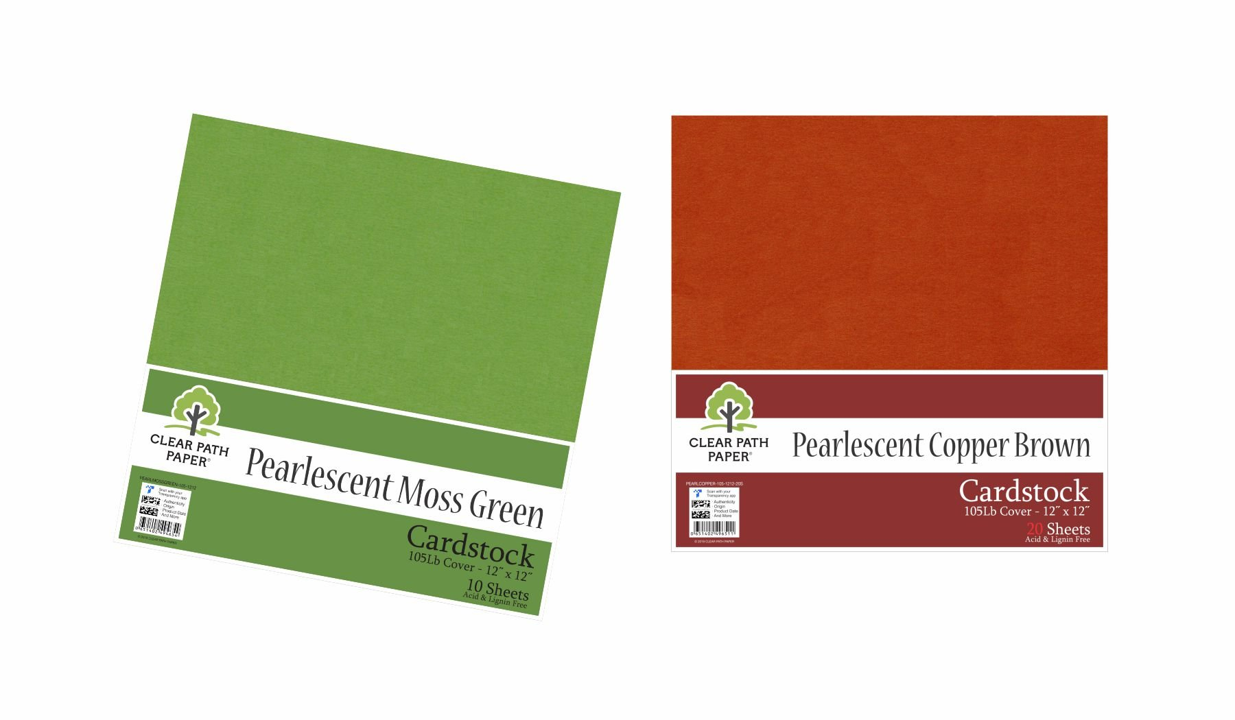 Image of an Amazon bundle of Pearlescent Moss Green and Pearlescent Copper Brown cardstock packs