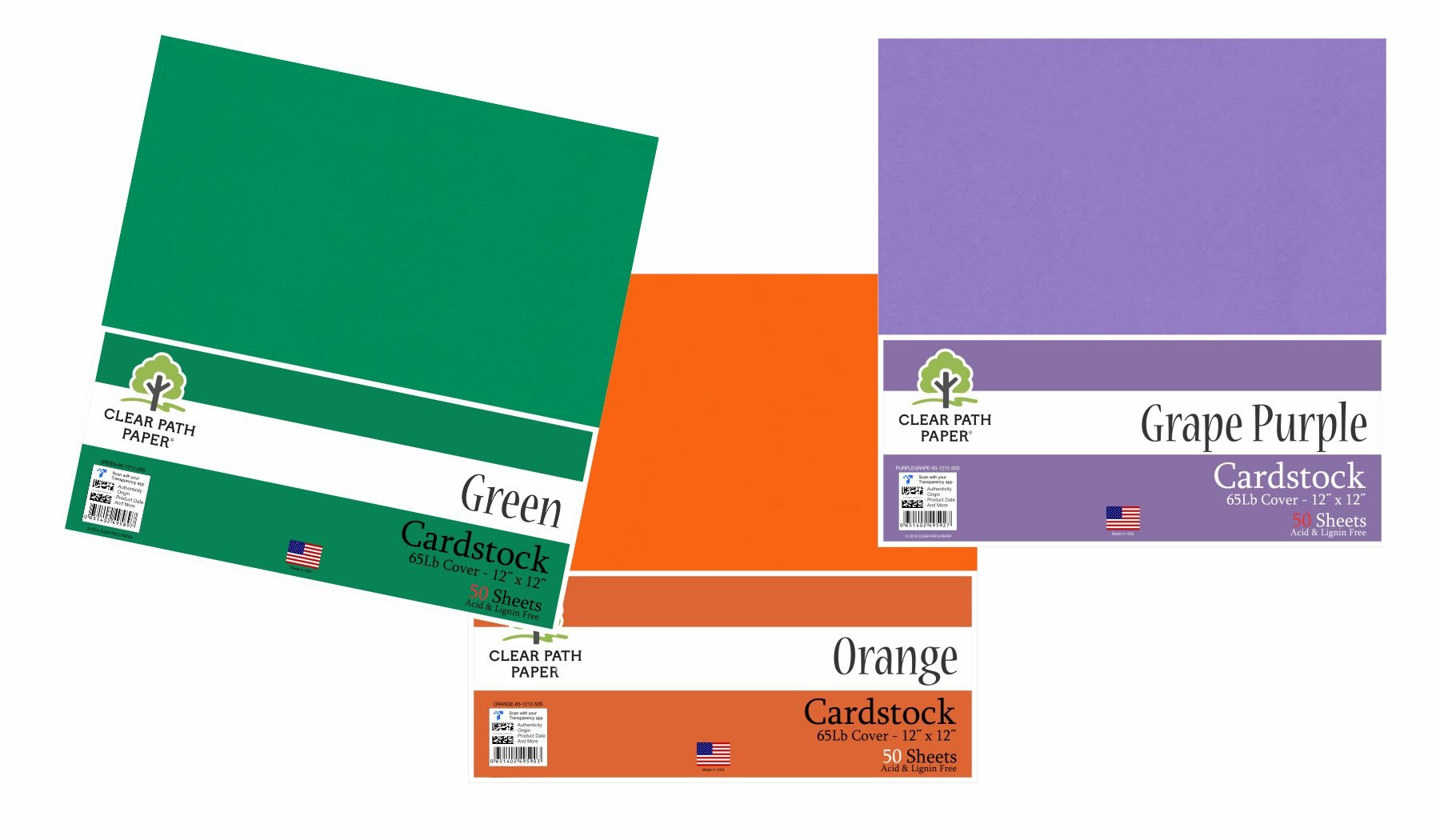 Image of an Amazon bundle of Green, Orange, and Grape Purple cardstock packs