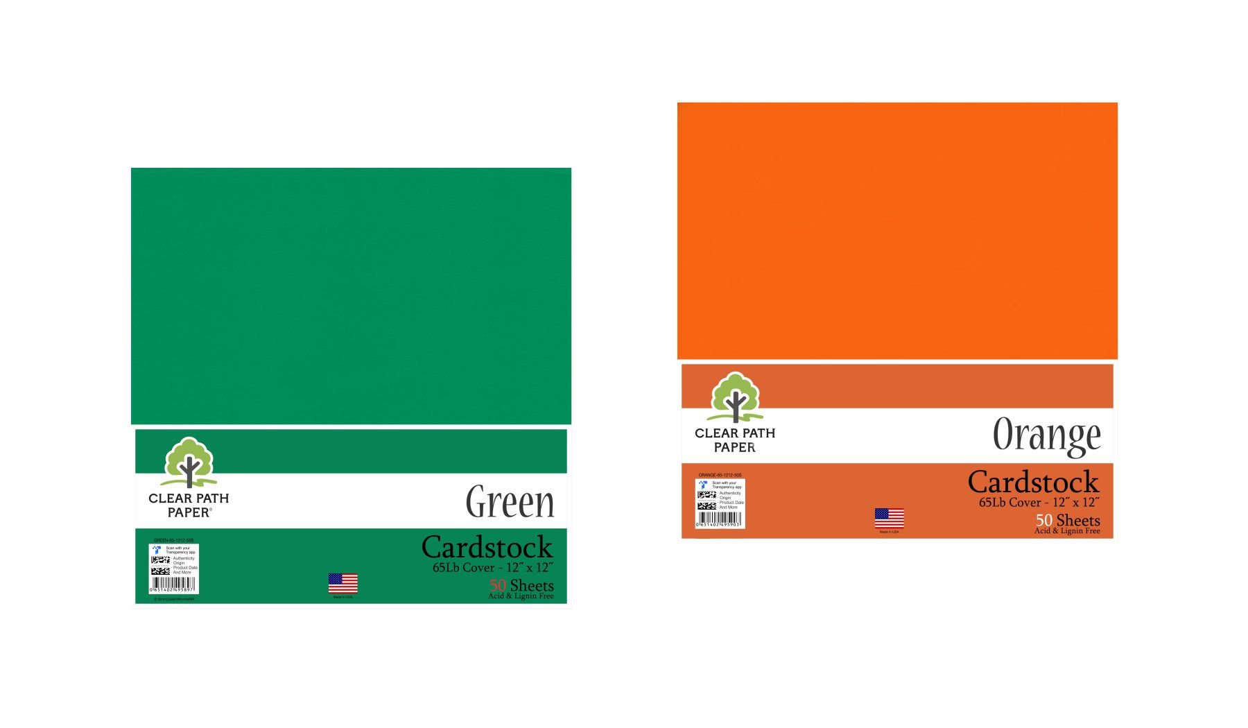 Image of an Amazon bundle of Green and Orange cardstock packs