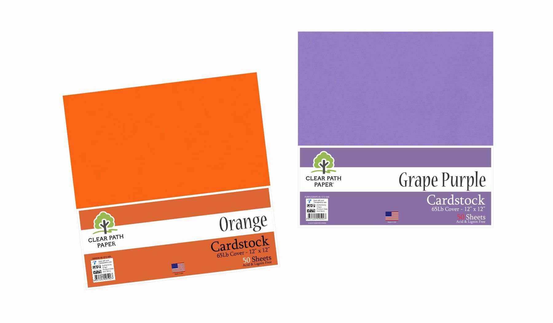 Image of an Amazon bundle of Orange and Grape Purple cardstock packs