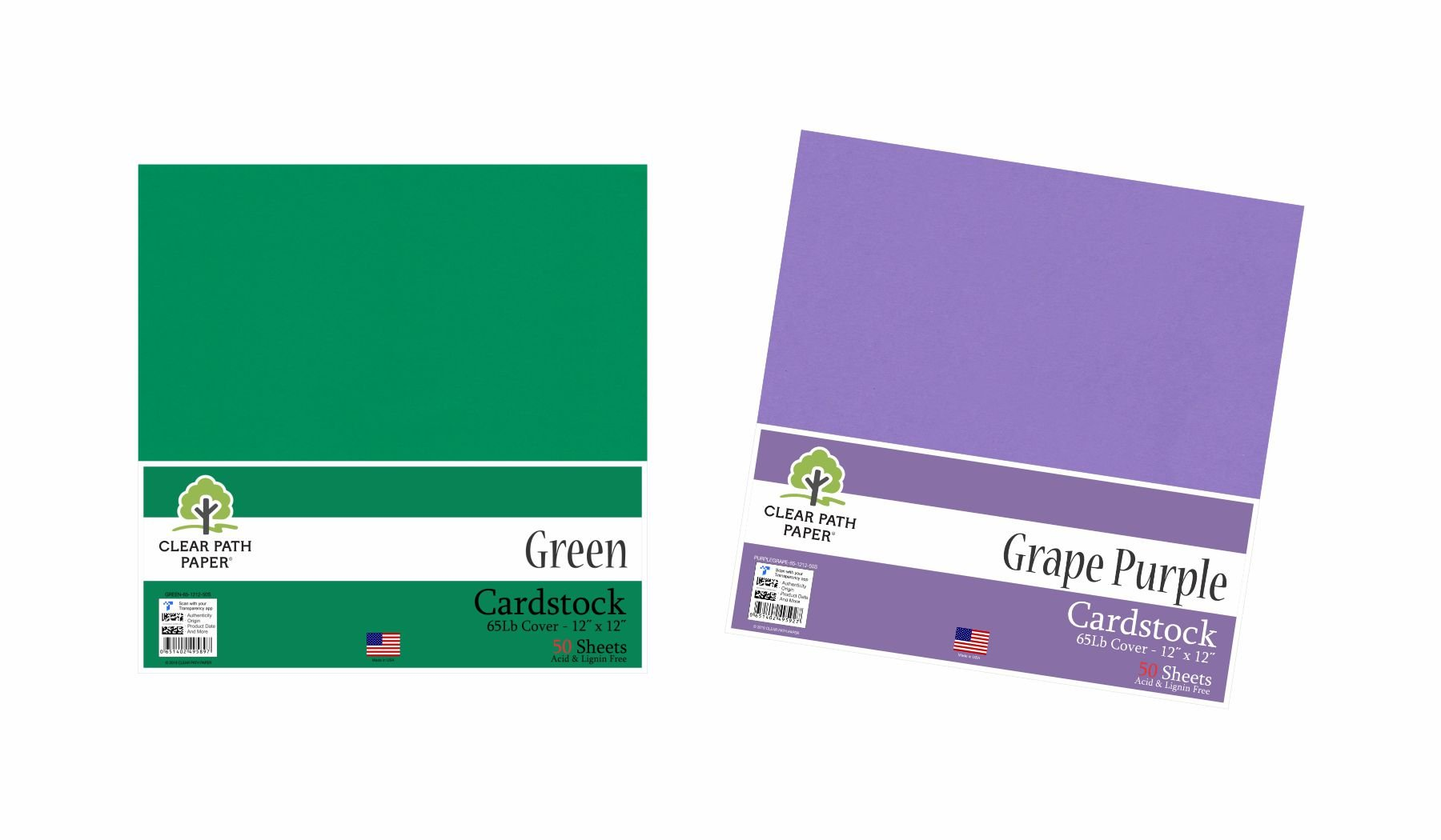 Image of an Amazon bundle of Green and Grape Purple cardstock packs