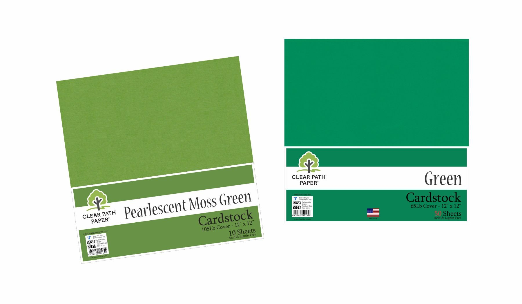 Image of an Amazon bundle of Green and Pearlescent Moss Green cardstock packs