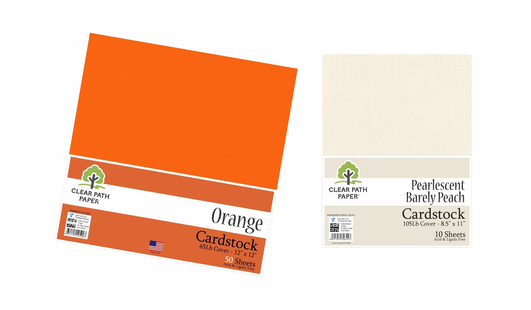 Image of an Amazon bundle of Orange and Pearlescent Barely Peach cardstock packs