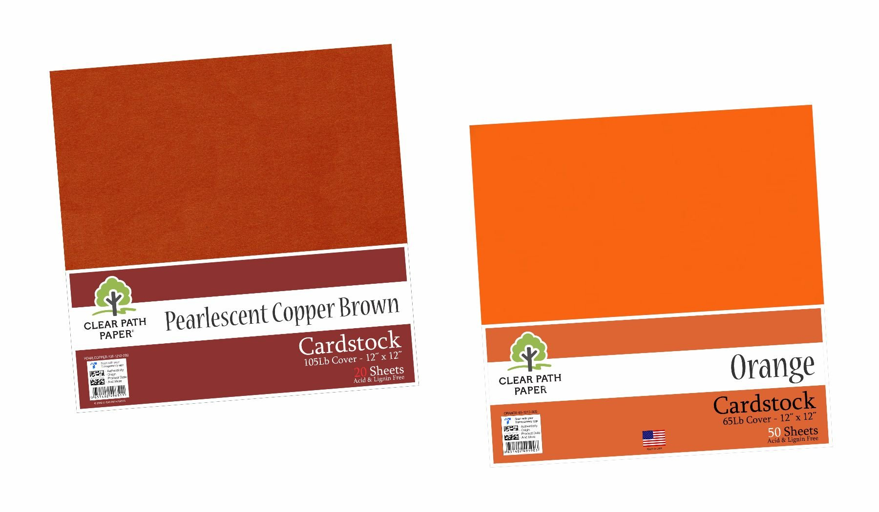 Image of an Amazon bundle of Orange and Pearlescent Copper Brown cardstock packs
