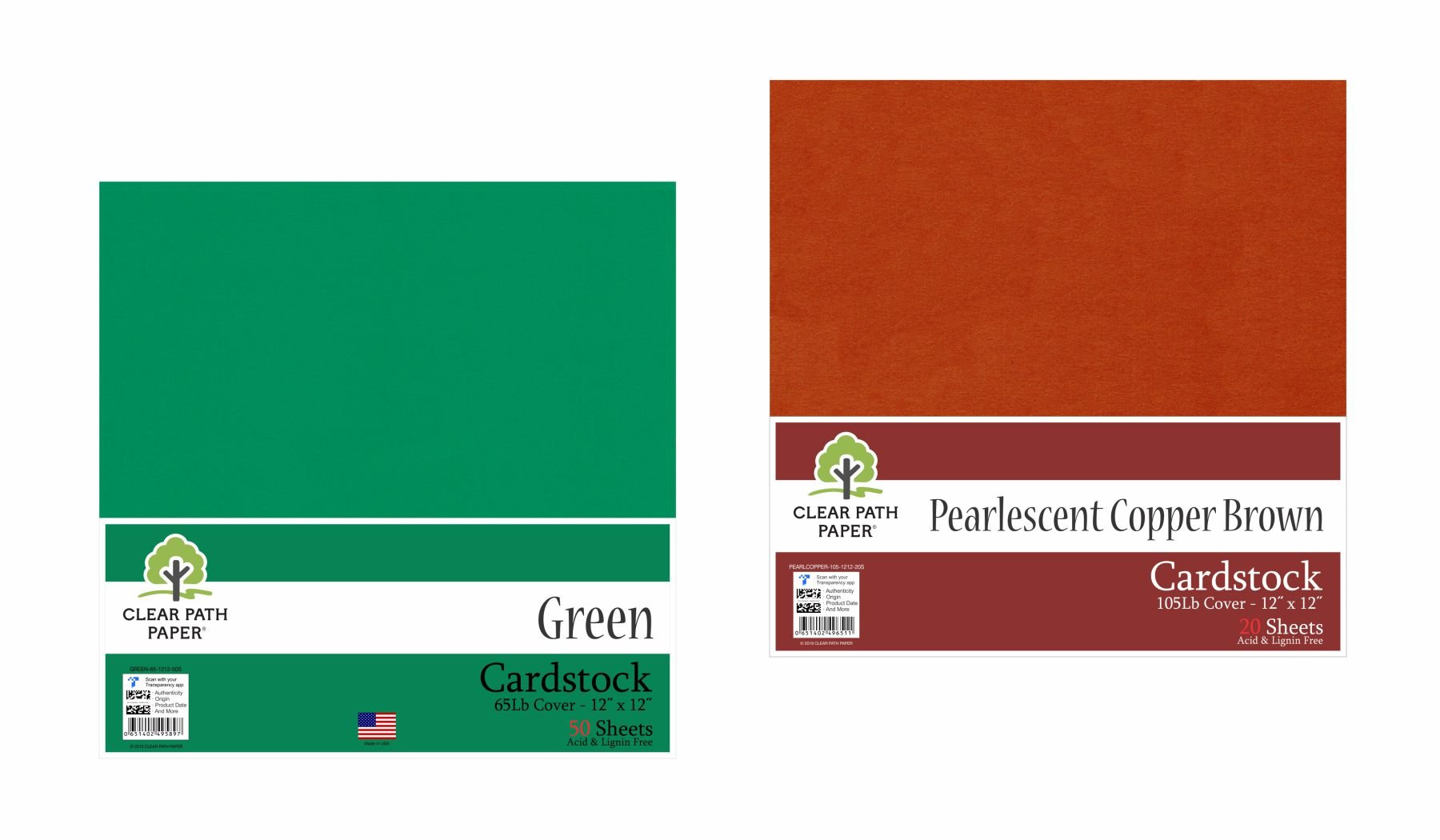 Image of an Amazon bundle of Green and Pearlescent Copper Brown cardstock packs
