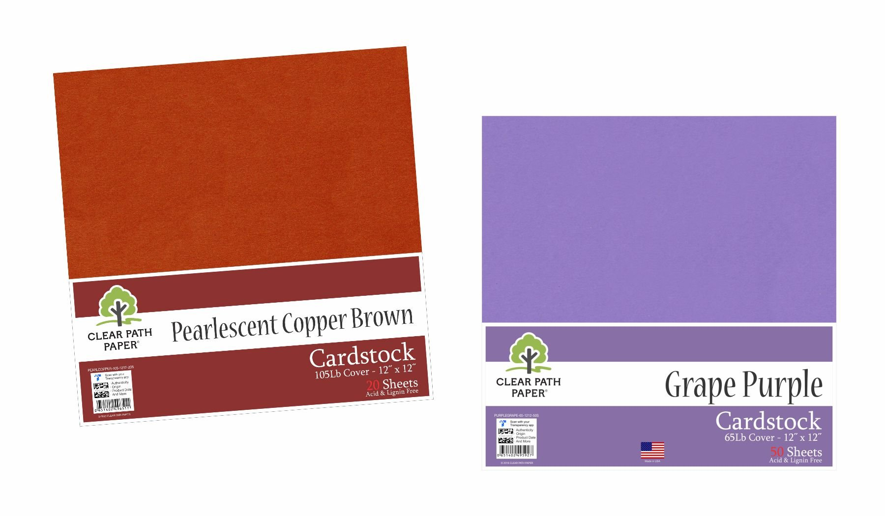 Image of an Amazon bundle of Grape Purple and Pearlescent Copper Brown cardstock packs