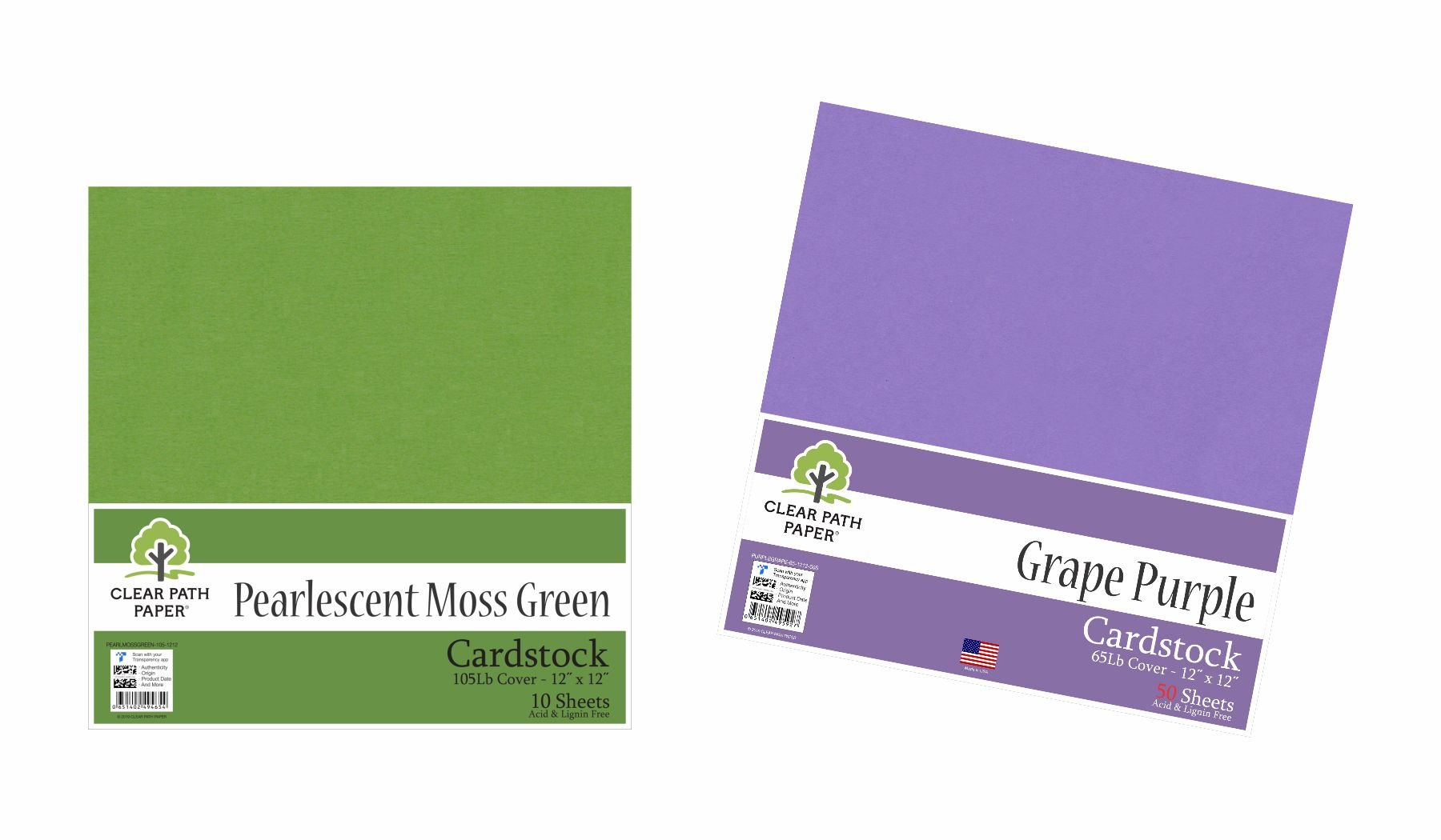 Image of an Amazon bundle of Grape Purple and Pearlescent Moss Green cardstock packs
