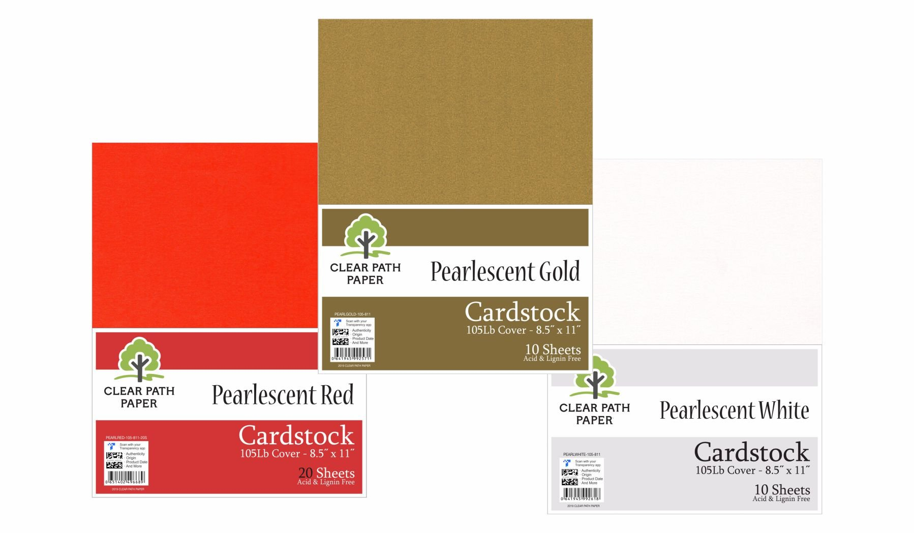 Image of an Amazon Bundle of Clear Path Paper Cardstock in Pearlescent Red, Pearlescent Gold, and Pearlescent White