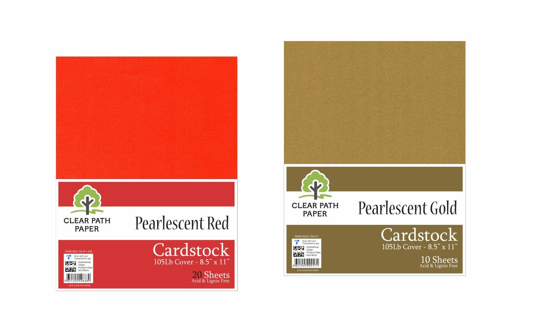 Image of an Amazon bundle of Clear Path Paper cardstock in Pearlescent Red and Pearlescent Gold