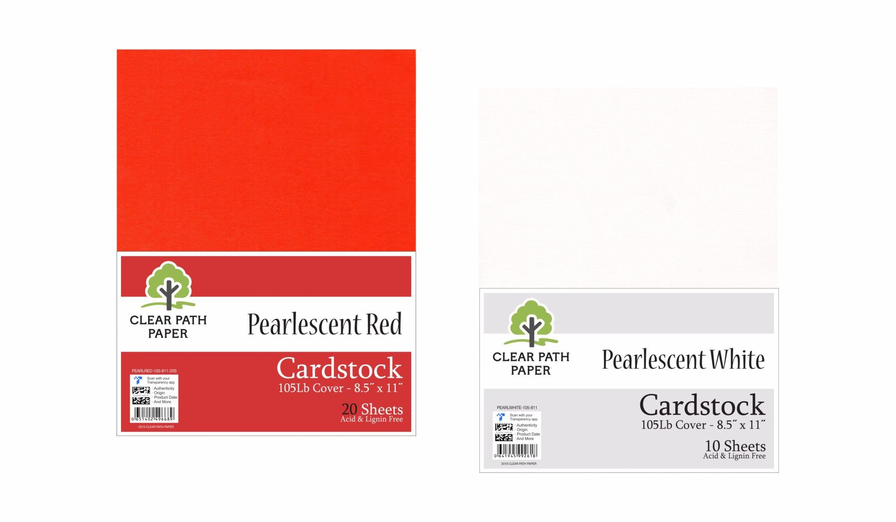 Image of an Amazon Bundle of Clear Path Paper cardstock in Pearlescent Red and Pearlescent White