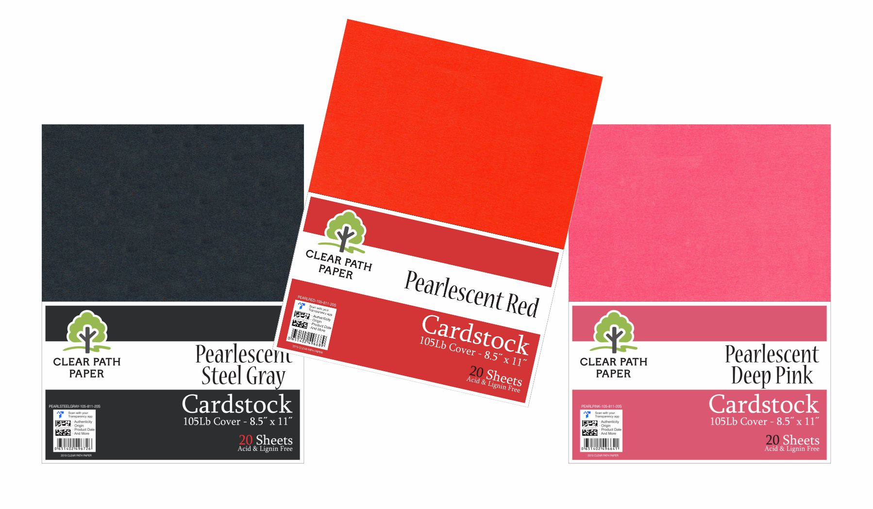 Image of an Amazon bundle of Clear Path Paper cardstock in Pearlescent Deep Pink, Pearlescent Steel Gray, and Pearlescent Red
