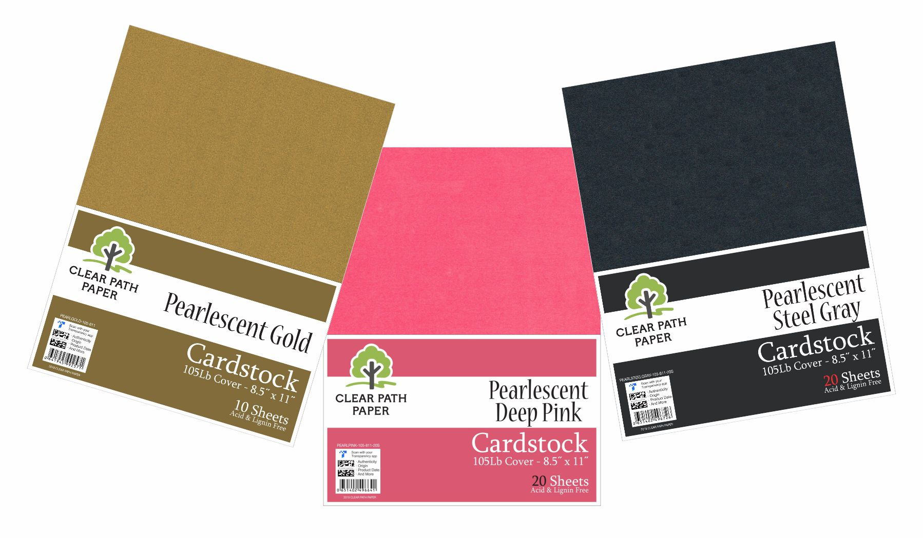Image of an Amazon bundle of Clear Path Paper Cardstock in Pearlescent Deep Pink, Pearlescent Steel Gray, and Pearlescent Gold