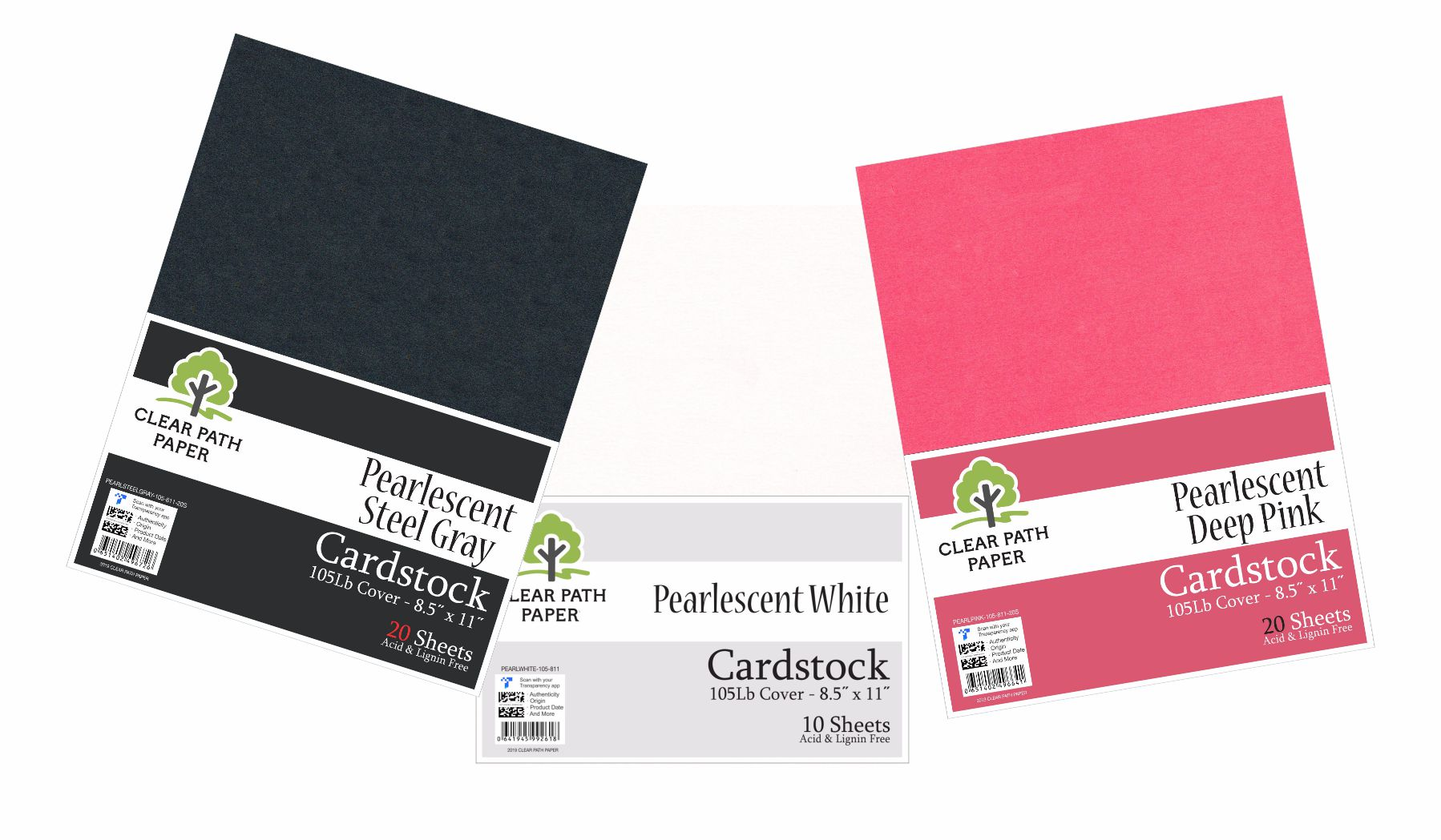 Image of an Amazon bundle of Clear Path Paper cardstock in Pearlescent Deep Pink, Pearlescent Steel Gray, and Pearlescent White