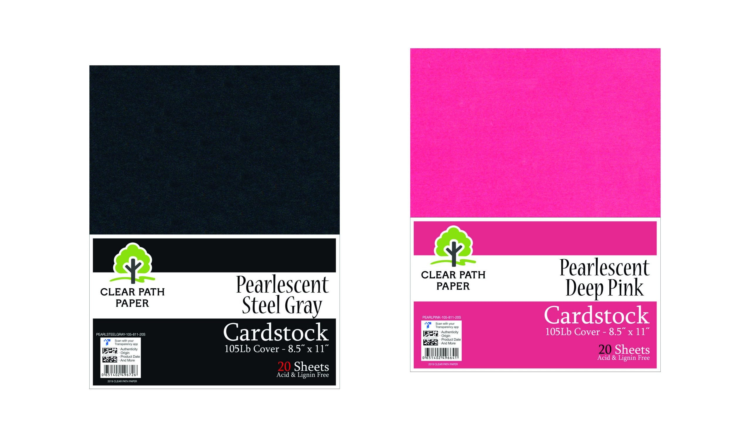 Image of an Amazon bundle of Clear Path Paper cardstock in Pearlescent Deep Pink and Pearlescent Steel Gray