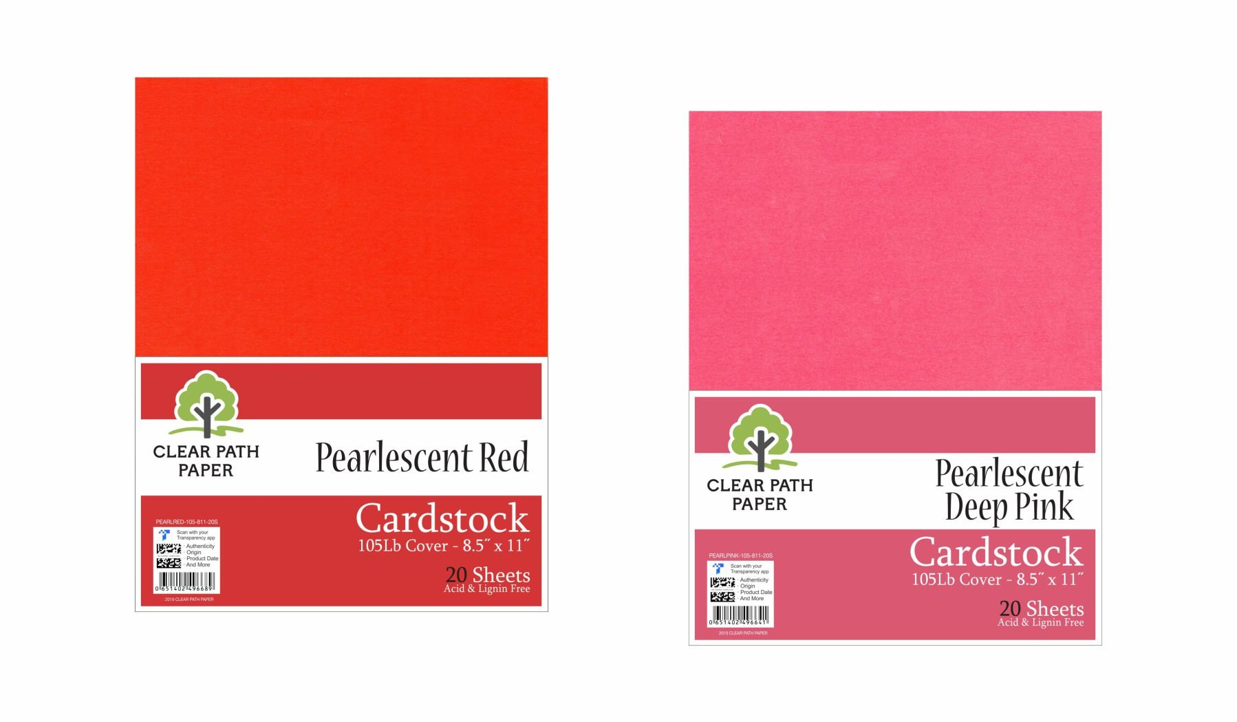 Image of an Amazon bundle of Clear Path Paper cardstock in Pearlescent Deep Pink and Pearlescent Red