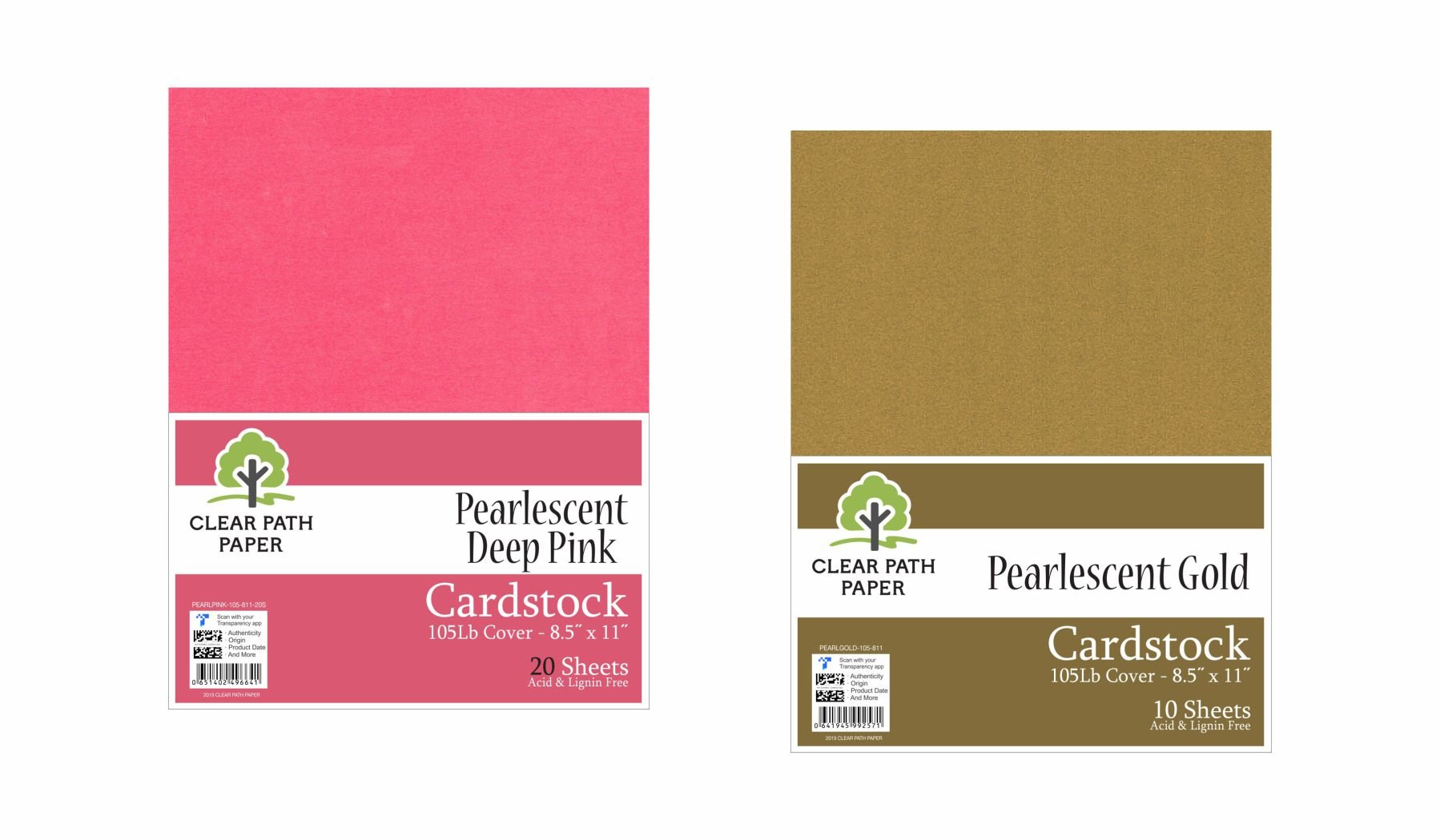 Image of an Amazon bundle of Clear Path Paper cardstock in Pearlescent Deep Pink and Pearlescent Gold