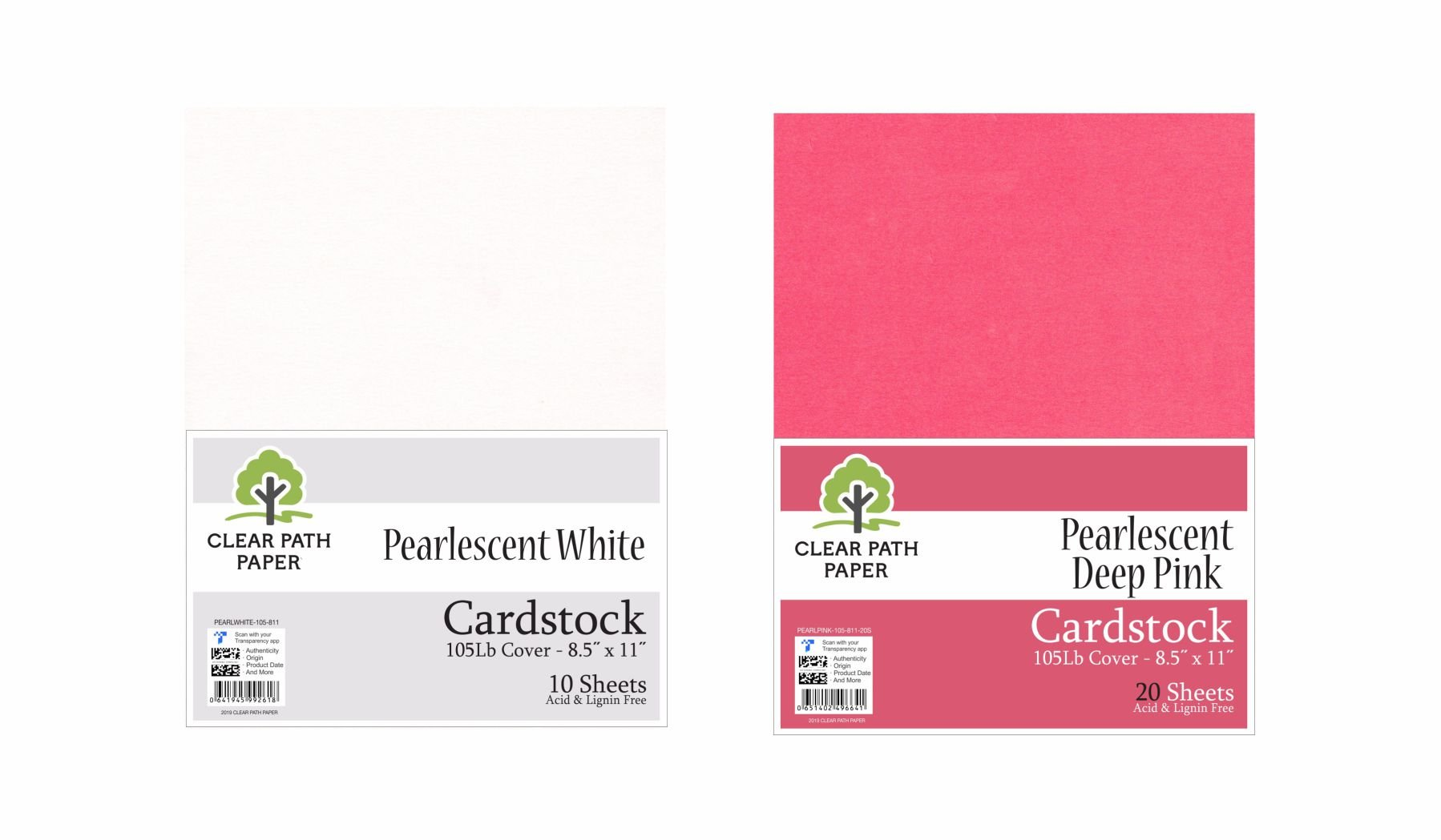 Image of an Amazon bundle of Clear Path Paper cardstock in Pearlescent Deep Pink and Pearlescent White