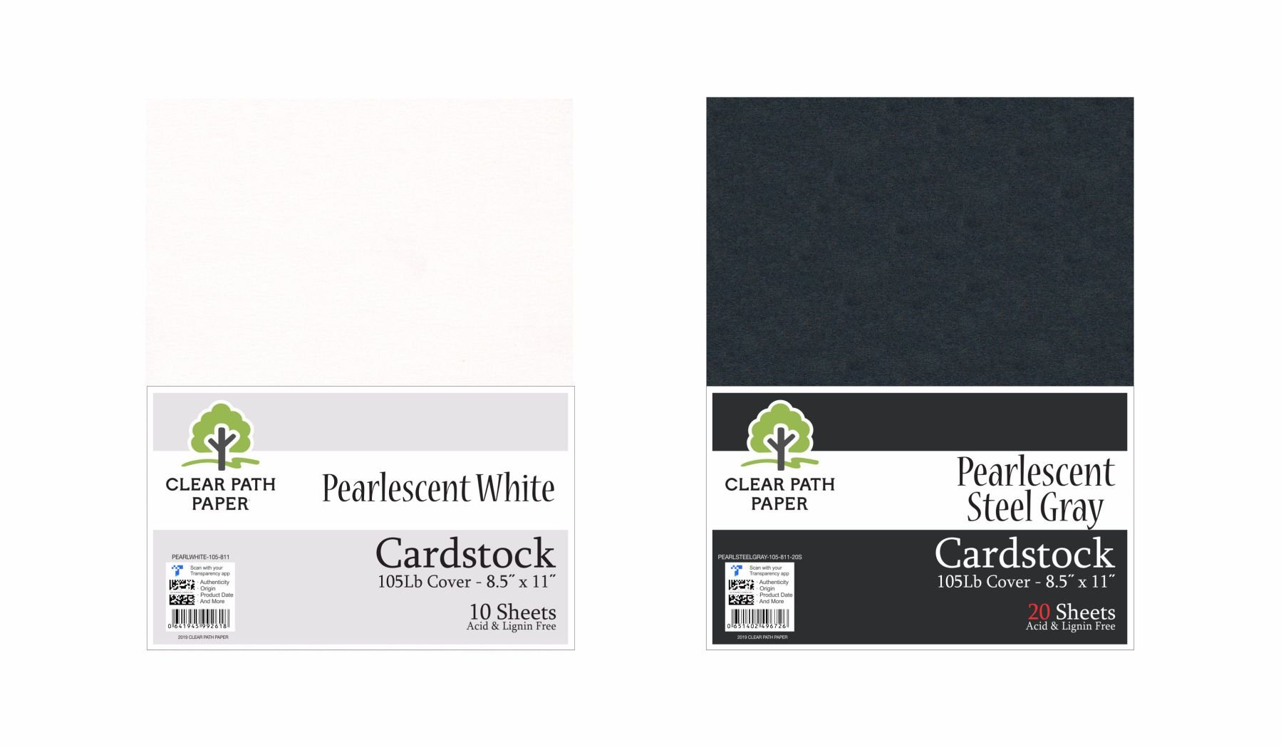 Image of an Amazon bundle of Clear Path Paper cardstock in Pearlescent Steel Gray and Pearlescent White