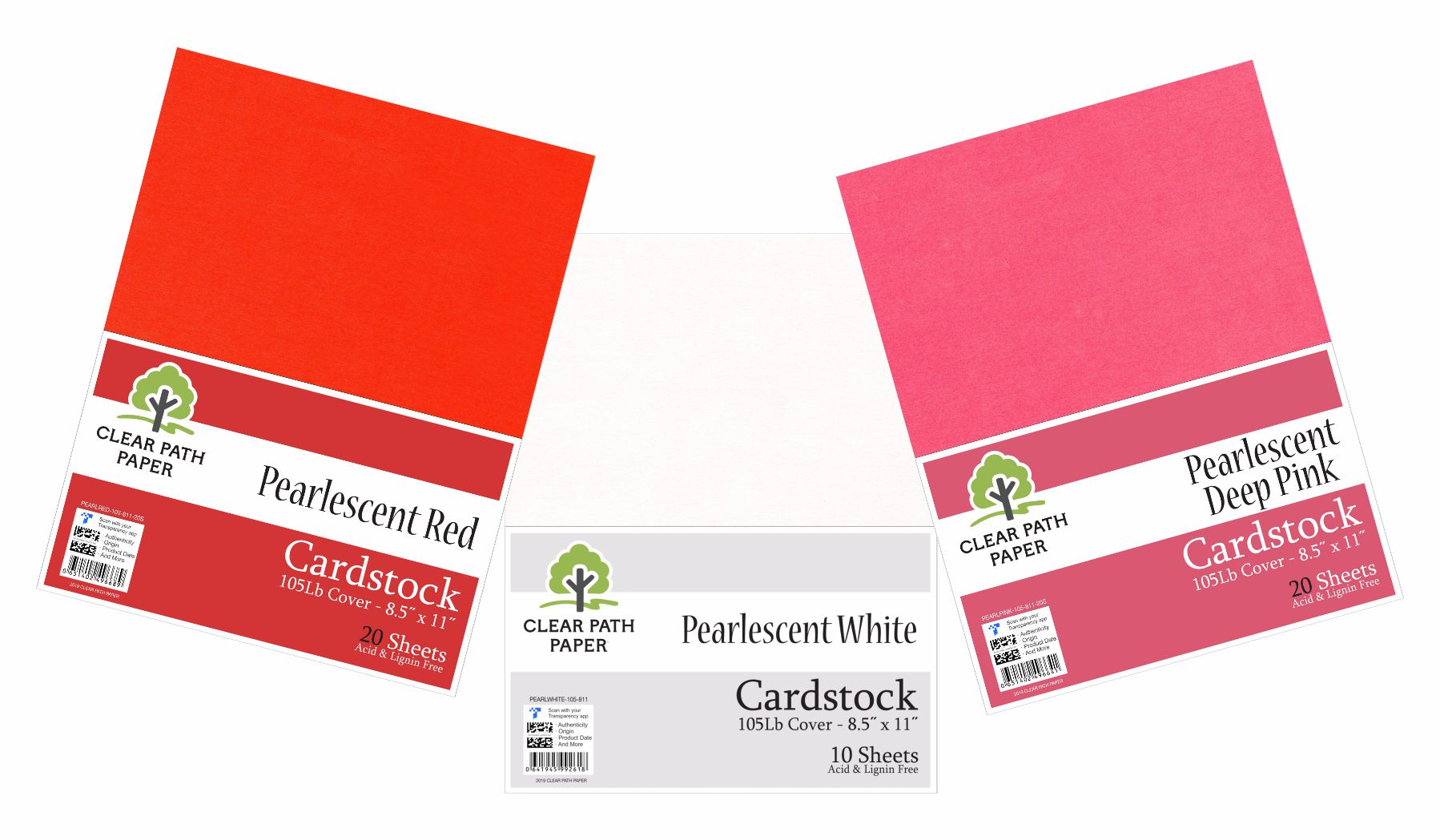 Image of an Amazon bundle of Clear Path Paper cardstock in Pearlescent Deep Pink, Pearlescent Red, and Pearlescent White