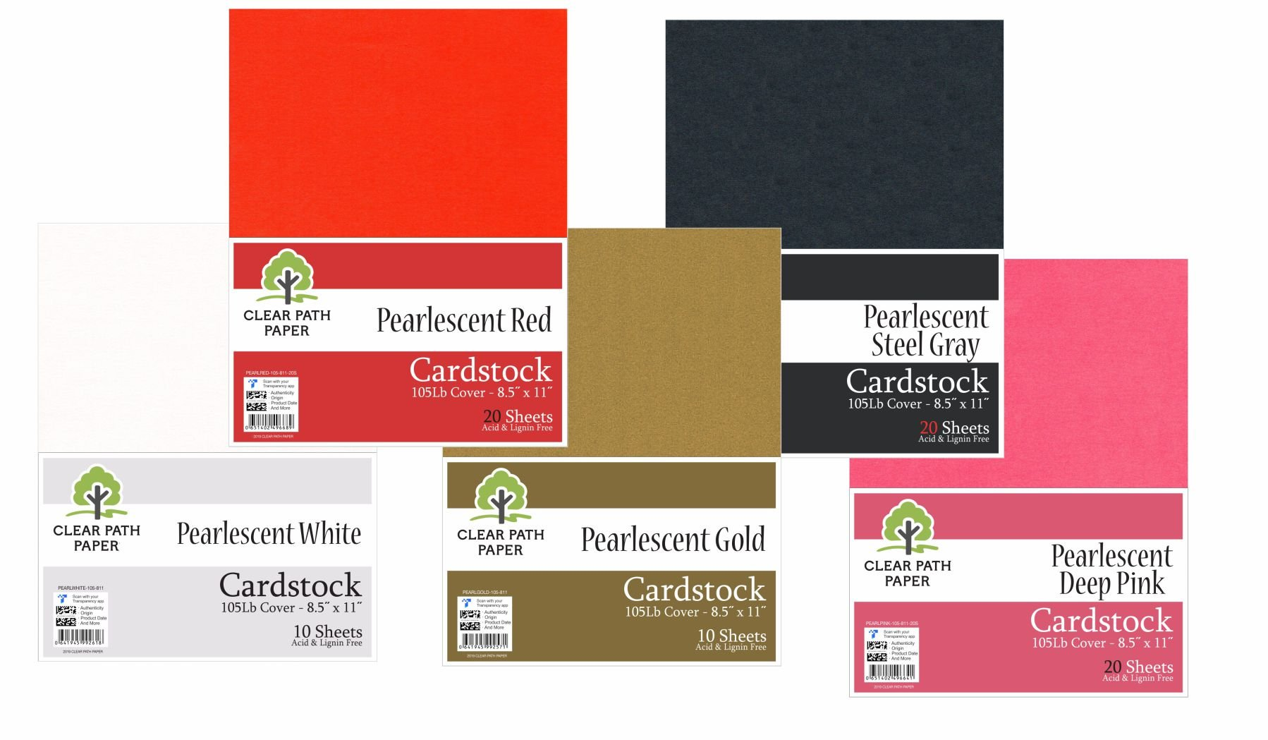 Image of an Amazon bundle of Clear Path Paper cardstock in Pearlescent Red, Pearlescent White, Pearlescent Gold, Pearlescent Steel Gray, and Pearlescent Deep Pink