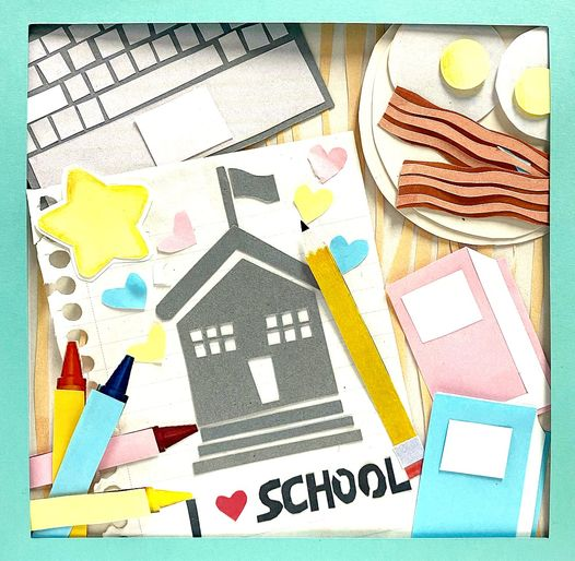 Image of a user-submitted cardstock collage full of laptops, notebooks, breakfast foods, pencils, a schoolhouse, and more with lettering that spells I
