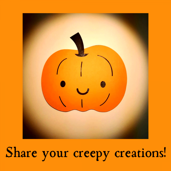 """Image of a smiling friendly pumpkin made with Clear Path Paper cardstock and the words """"Share your creepy creations!"""""""