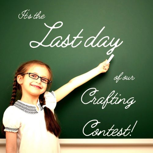 """A young student writes on a blackboard the following words: """"It's the Last day of our Crafting Contest!"""""""