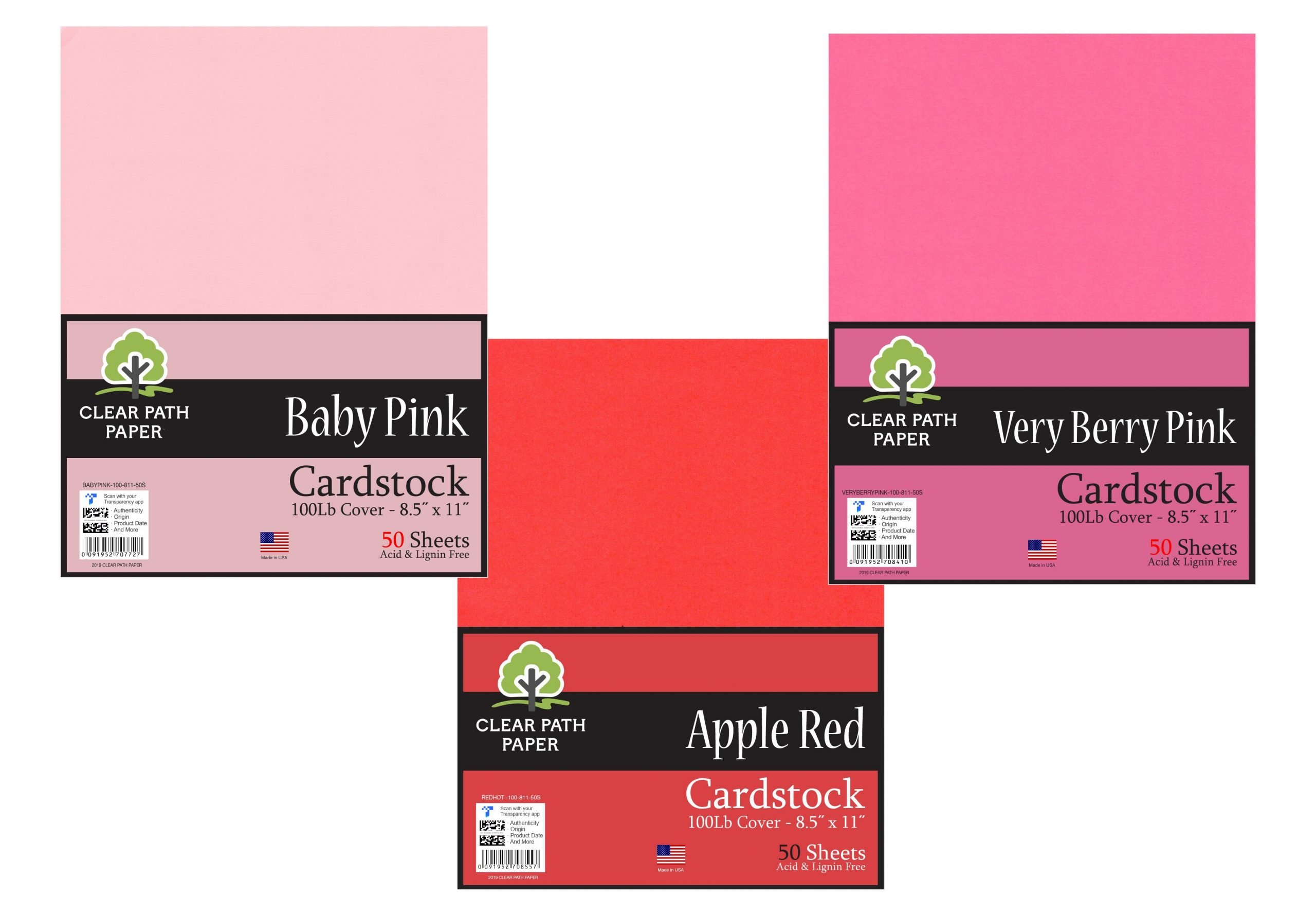 Baby Pink / Very Berry Pink / Apple Red
