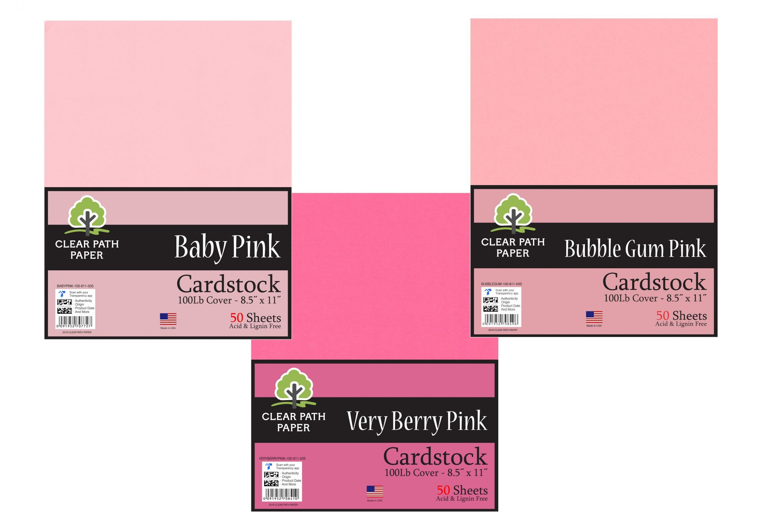Baby Pink / Very Berry Pink / Bubble Gum Pink