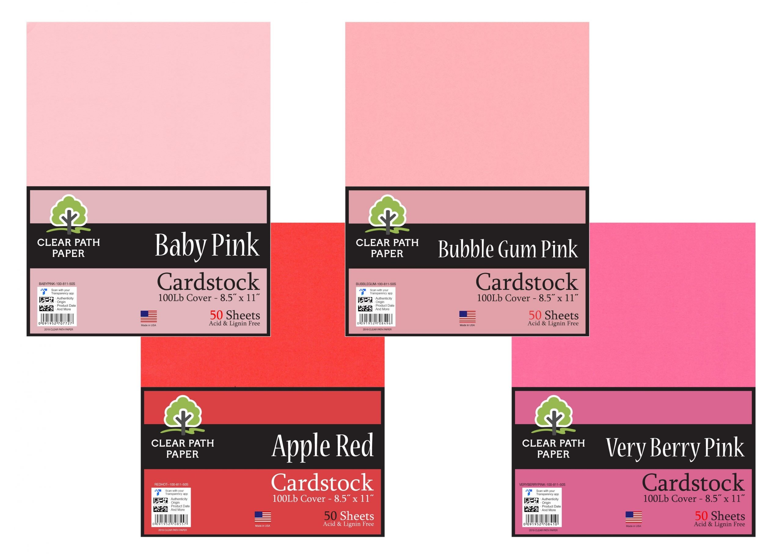 Baby Pink / Apple Red / Bubble Gum Pink / Very Berry Pink