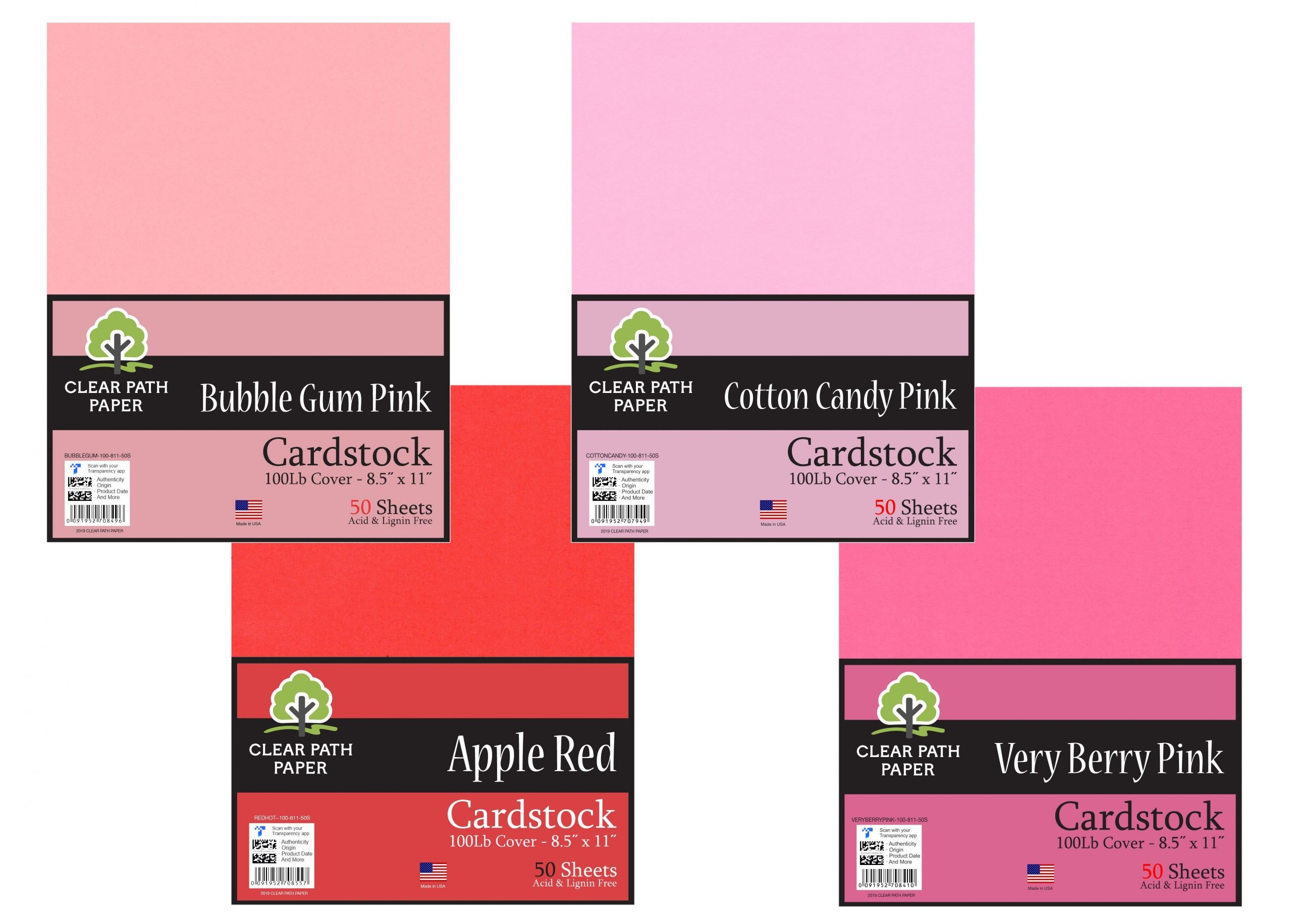 Bubble Gum Pink / Apple Red / Cotton Candy Pink / Very Berry Pink