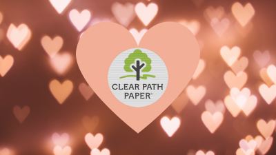 Shimmering Valentine's Day hearts with the Clear Path Paper logo