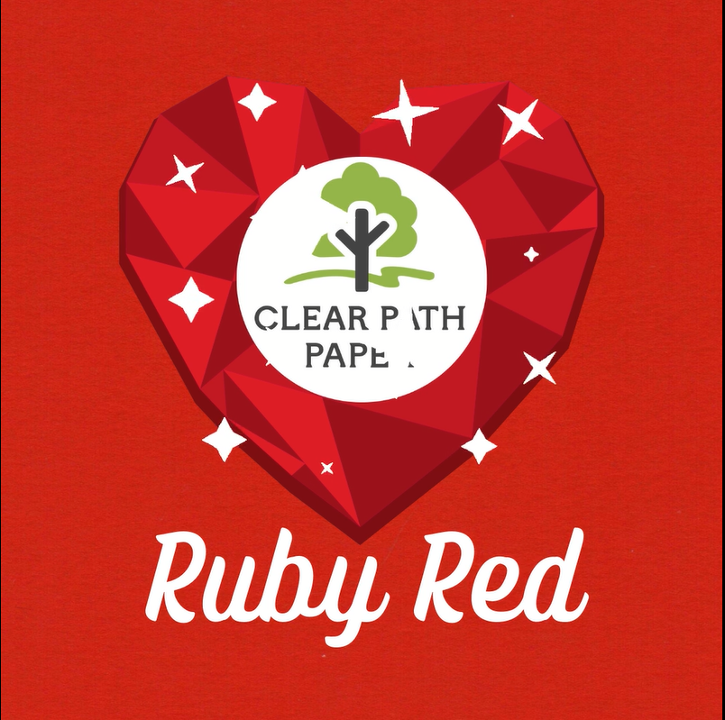 """Image of a sparkling heart-shaped ruby with the Clear Path Paper Logo and the words """"Ruby Red"""" on a background of Ruby Red cardstock from CPP"""