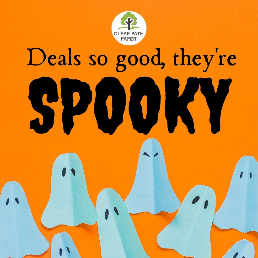 """Images of some paper ghosts and the text """"Deals so good, they're spooky"""""""