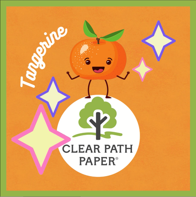 Image of a tangerine dancing on the Clear Path Paper logo, with Clear Path Paper Tangerine Orange cardstock in the background