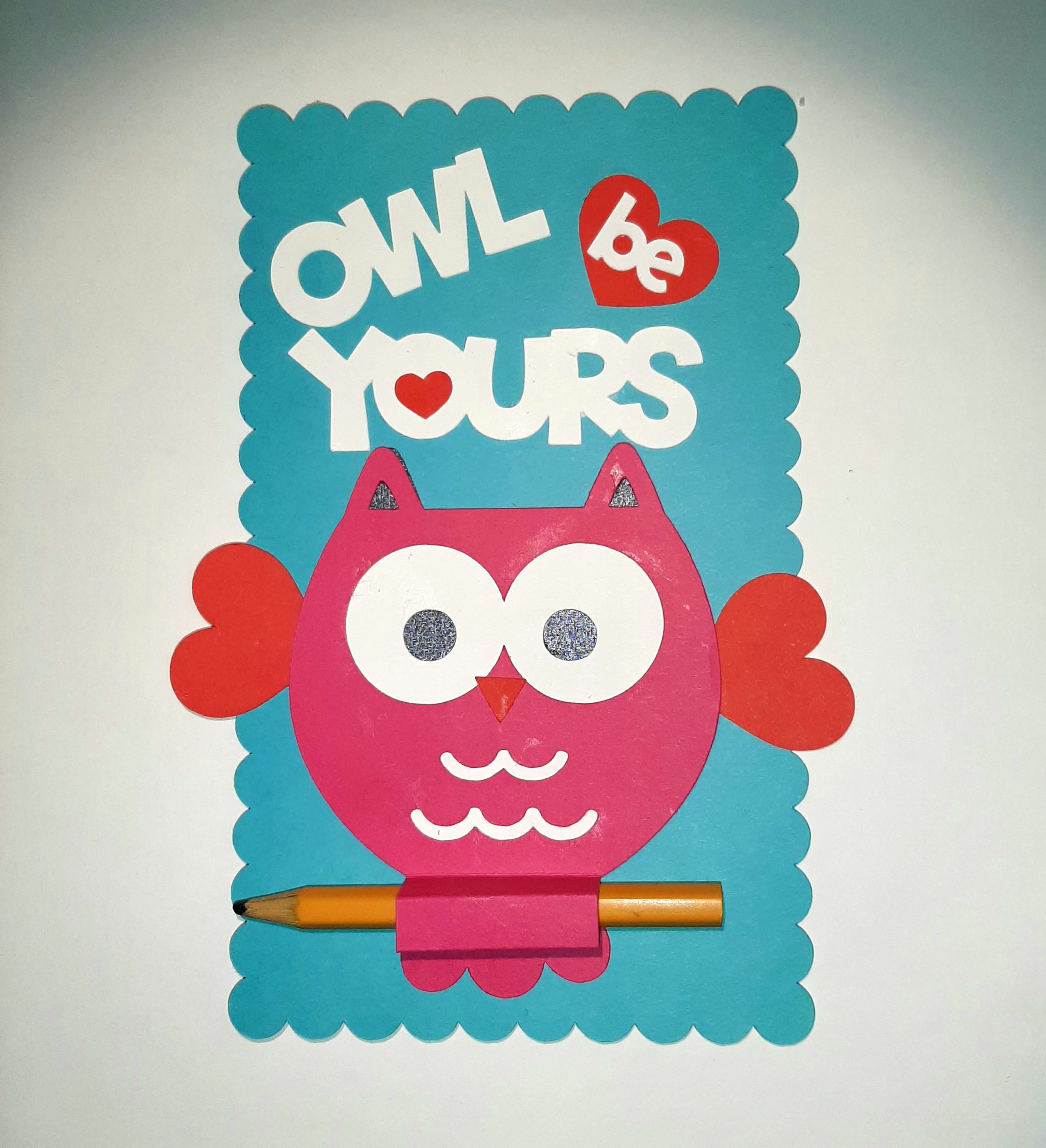 Image of a Valentine's Day card made with Clear Path Paper cardstock featuring an owl and the words OWL BE YOURS