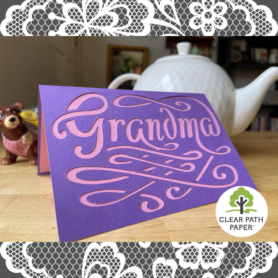 Image of a handmade card that says GRANDMA