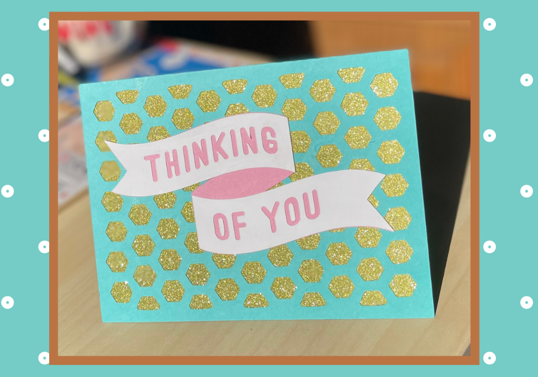 """A handmade card that says """"Thinking of You"""""""