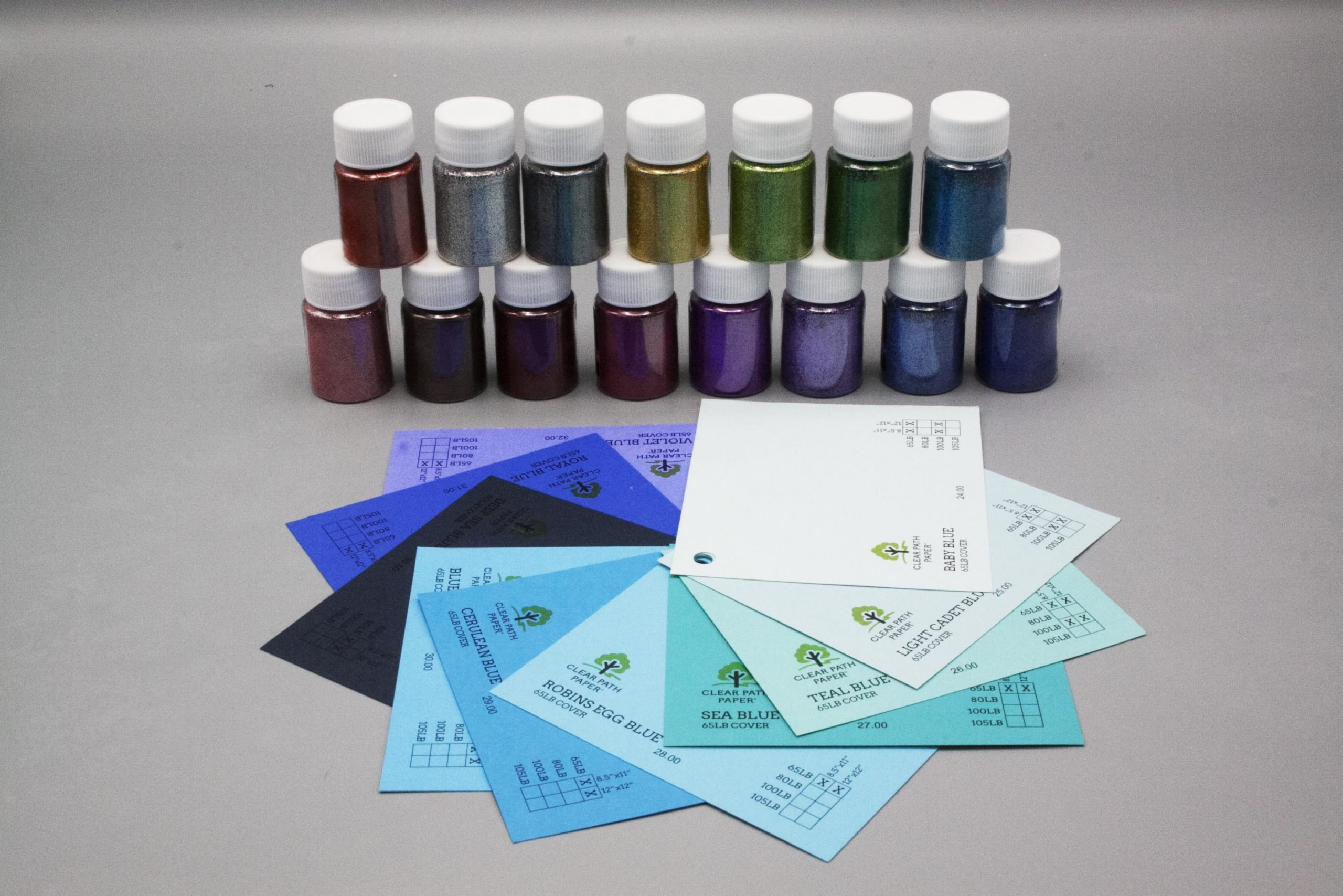 Image of LETS RESIN Glitter Powder with blue cardstock