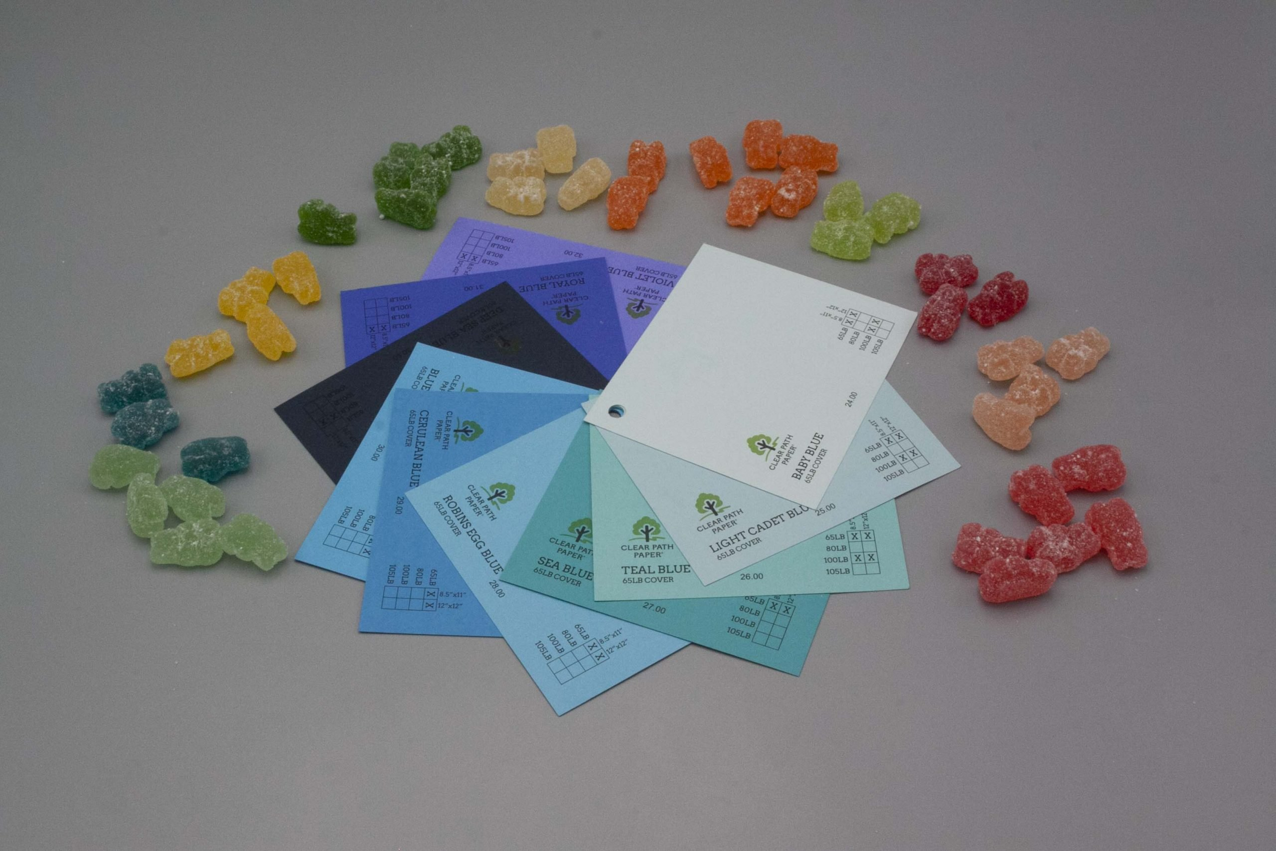 Image of Albanese Gummi Candies with blue cardstock