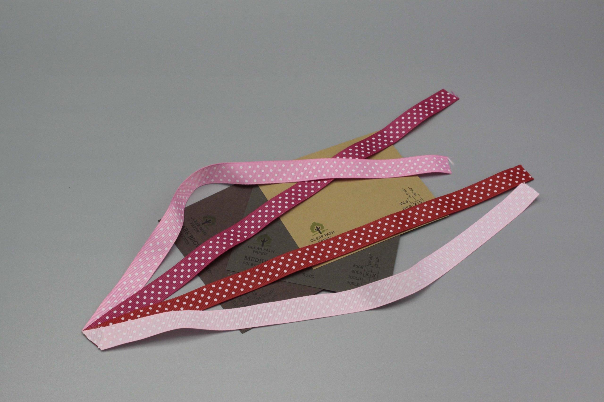 Image of Polka Dot Ribbon on Brown Cardstock
