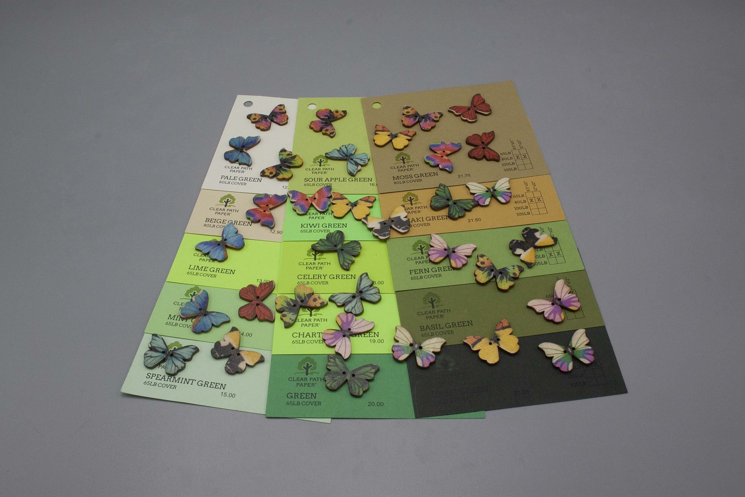Image of Easy 99 Butterfly Buttons on Green Cardstock