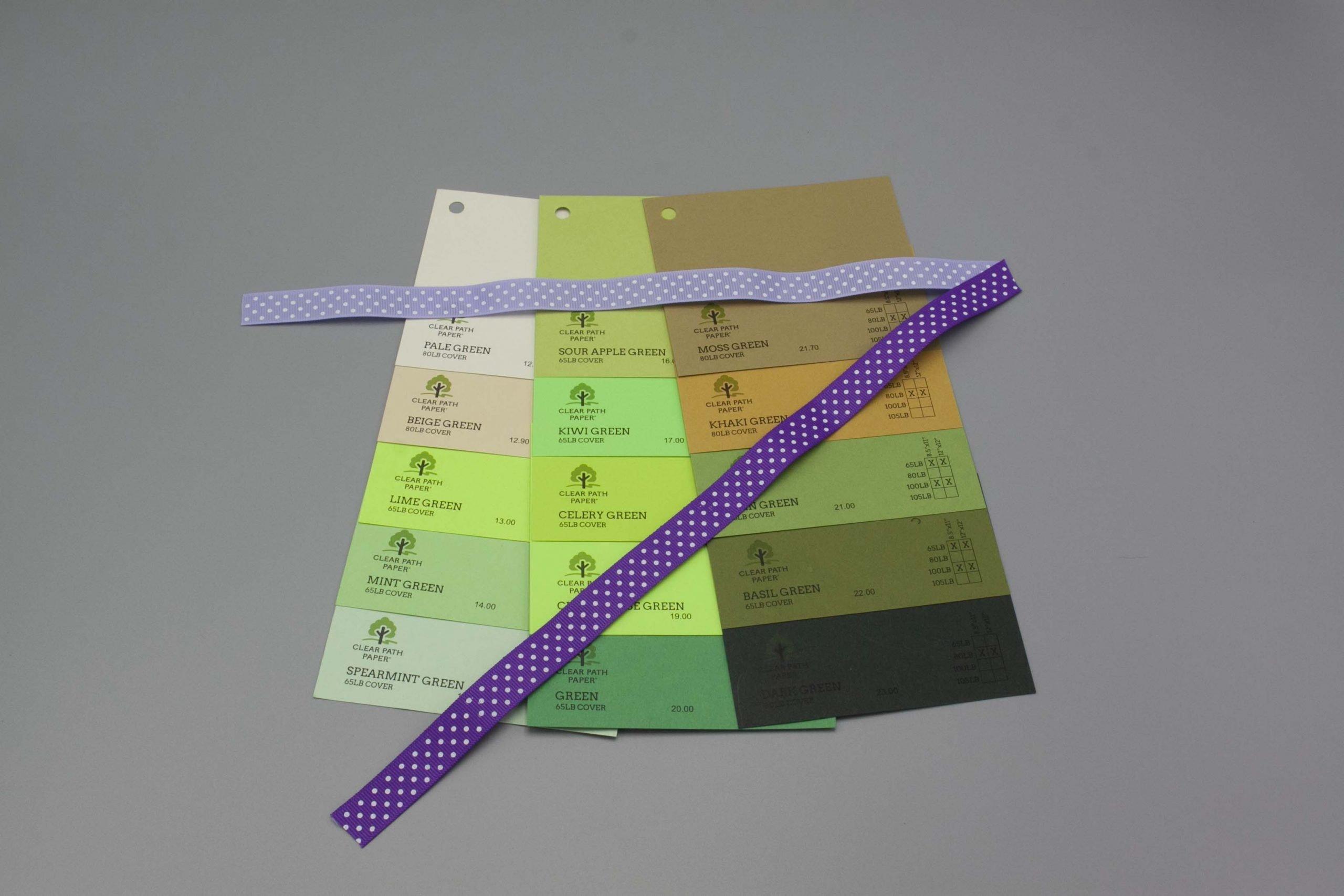 Image of Polka Dot Ribbon on Green Cardstock